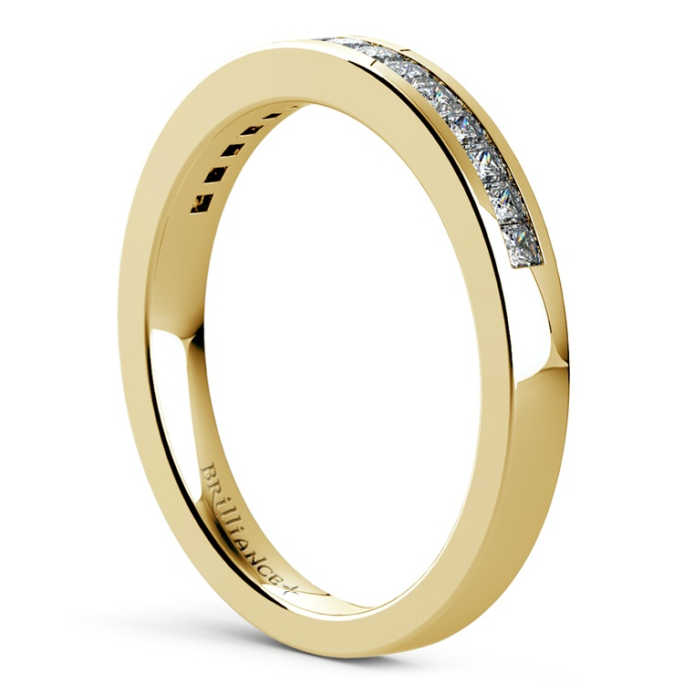 Princess Channel Diamond Wedding Ring in Yellow Gold | 04