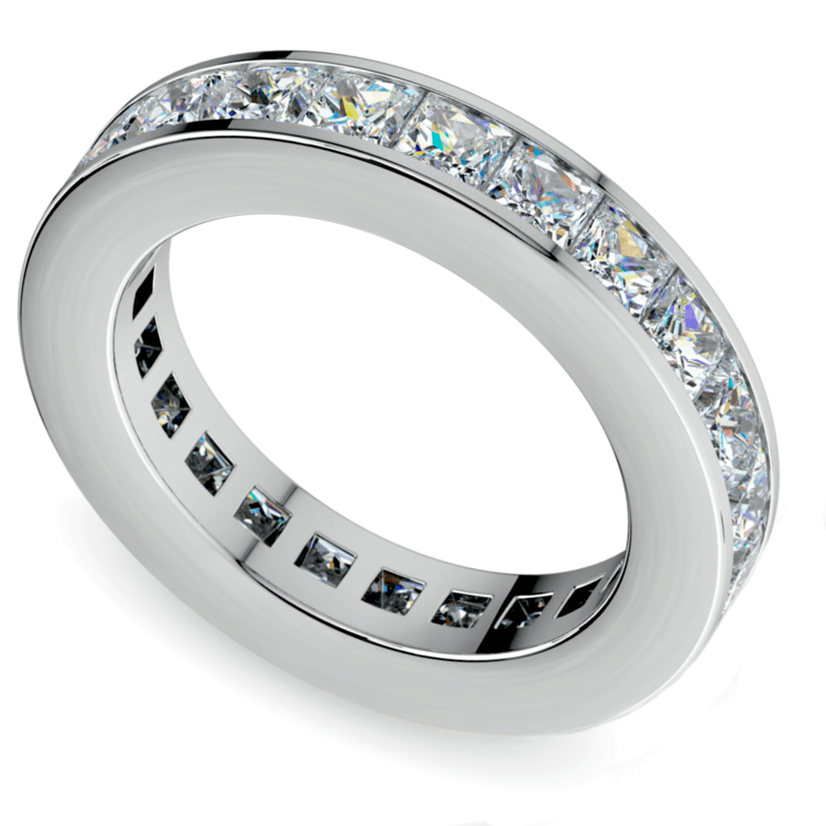 Princess Channel Eternity Ring in White Gold (4 ctw) | 01