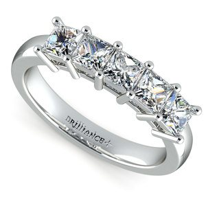 Princess Five Diamond Wedding Ring in Platinum (1 1/2 ctw)