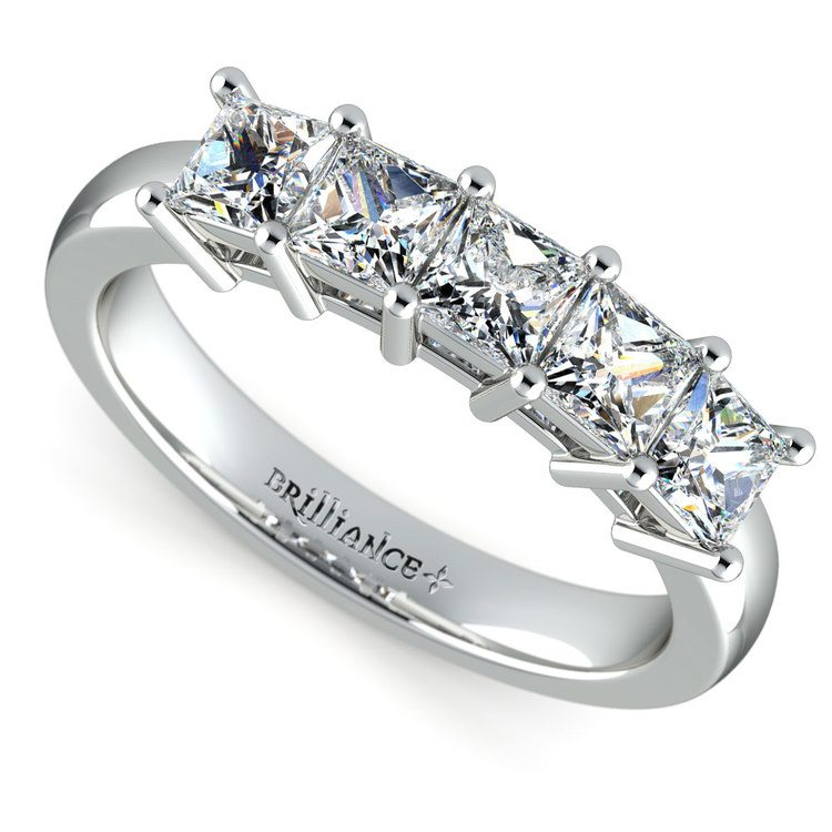 Princess Five Diamond Wedding Ring in Platinum (1 1/2 ctw) | 01