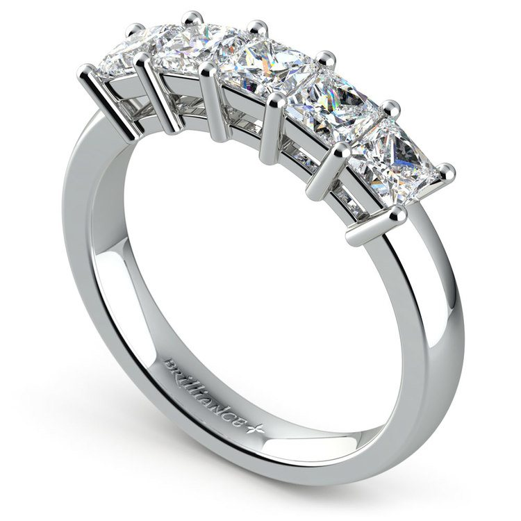 Princess Five Diamond Wedding Ring in Platinum (1 1/2 ctw) | 04