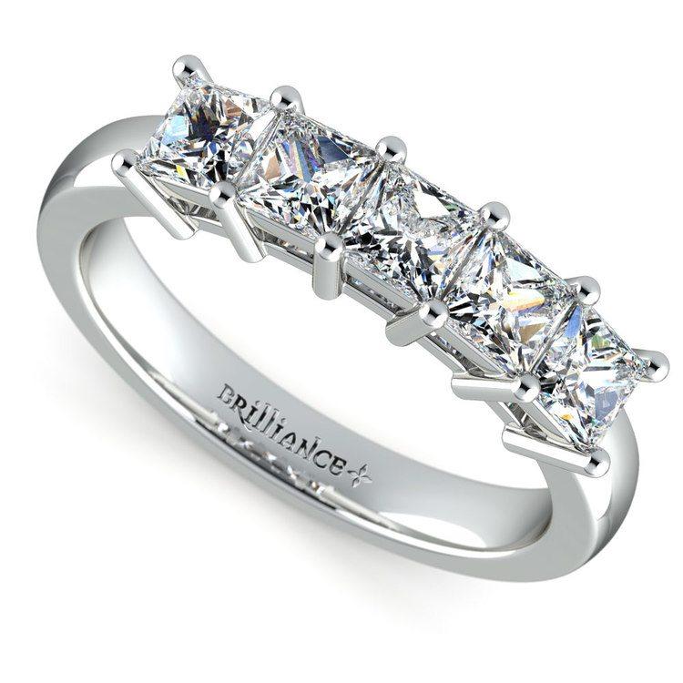 Princess Five Diamond Wedding Ring in White Gold (1 1/2 ctw) | 01