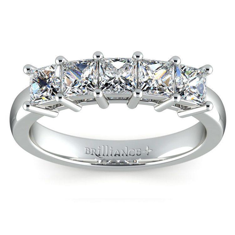 Princess Five Diamond Wedding Ring in White Gold (1 1/2 ctw) | 02