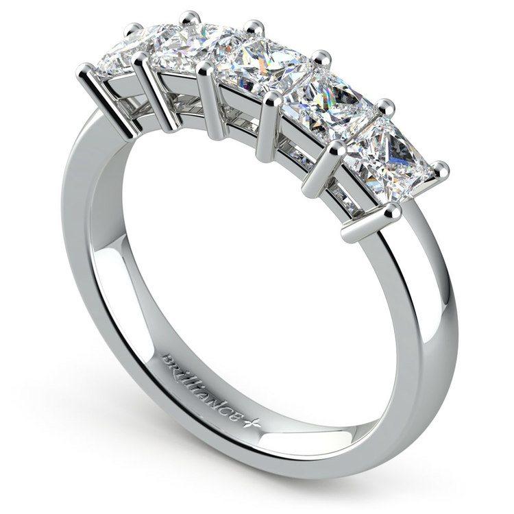 Princess Five Diamond Wedding Ring in White Gold (1 1/2 ctw) | 04