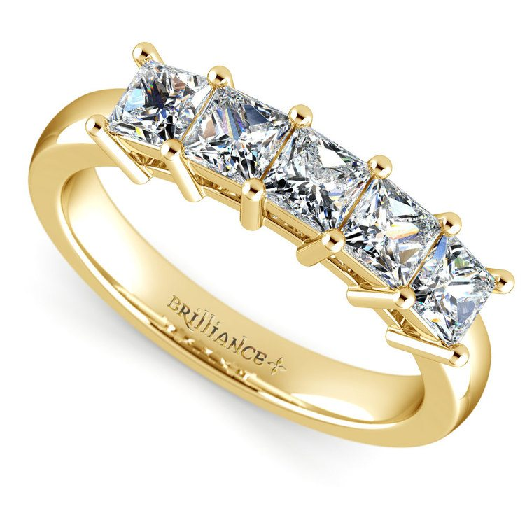 Princess Five Diamond Wedding Ring in Yellow Gold (1 1/2 ctw) | 01