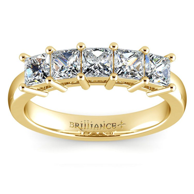 Princess Five Diamond Wedding Ring in Yellow Gold (1 1/2 ctw) | 02