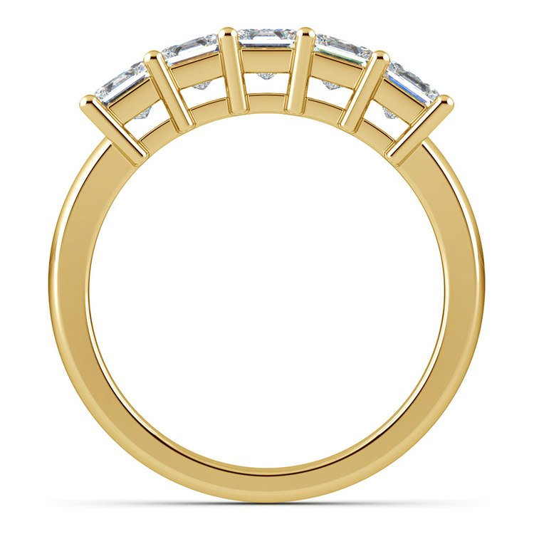 Princess Five Diamond Wedding Ring in Yellow Gold (1 1/2 ctw) | 03