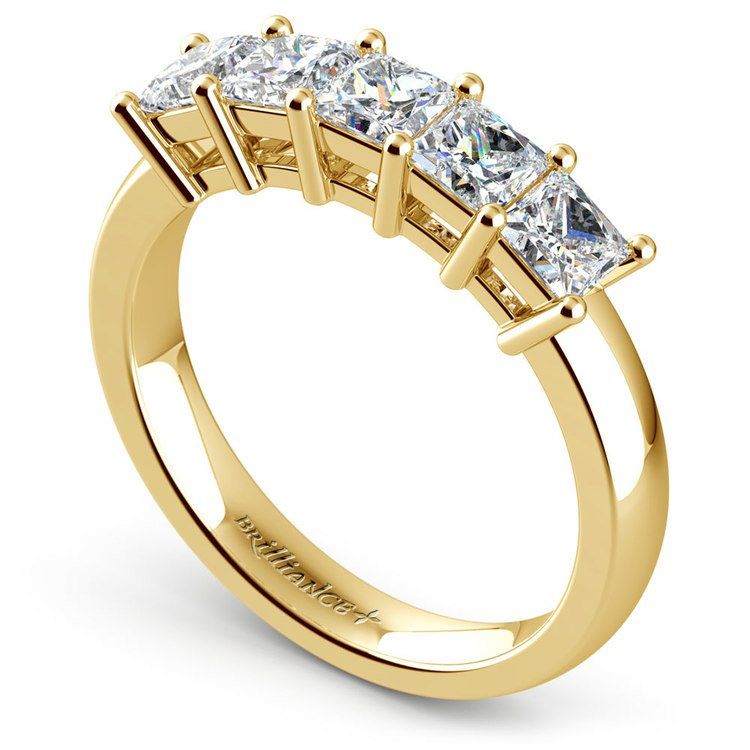 Princess Five Diamond Wedding Ring in Yellow Gold (1 1/2 ctw) | 04