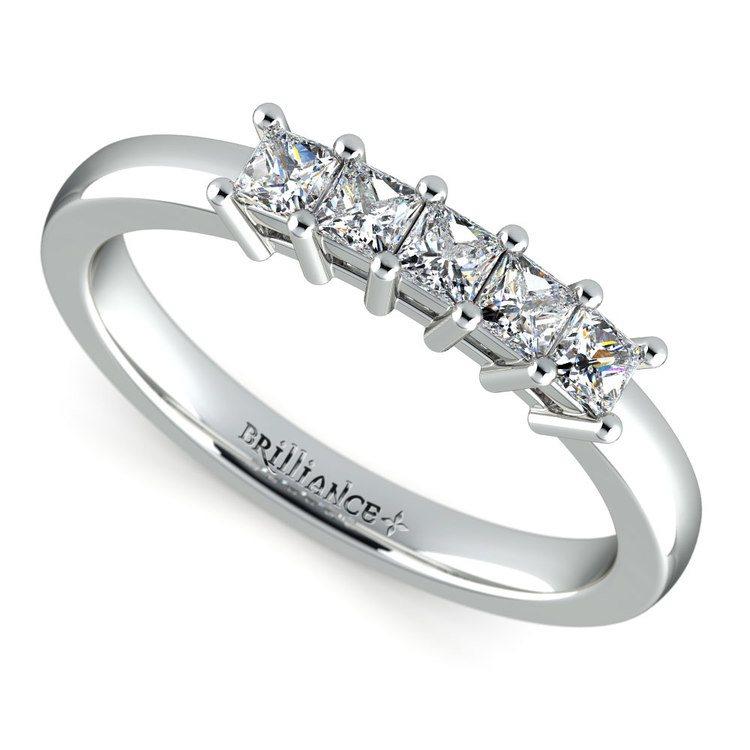 Princess Five Diamond Wedding Ring in Platinum (1/2 ctw) | 01