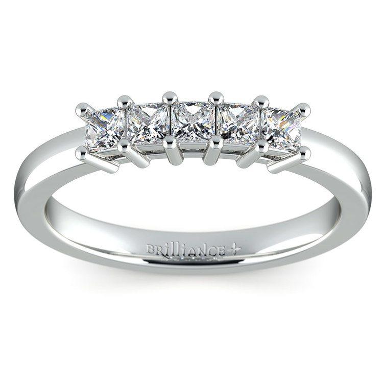 Princess Five Diamond Wedding Ring in Platinum (1/2 ctw) | 02