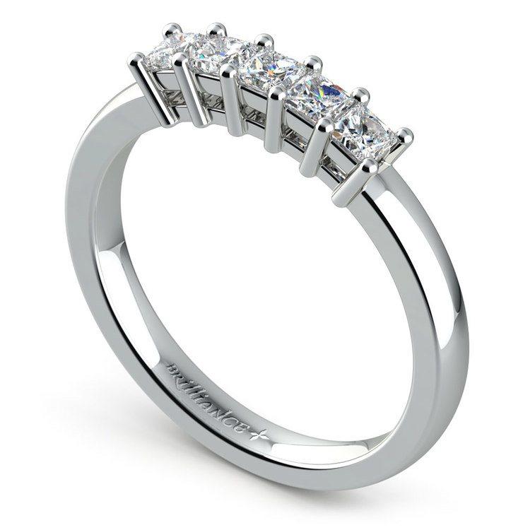 Princess Five Diamond Wedding Ring in Platinum (1/2 ctw) | 04