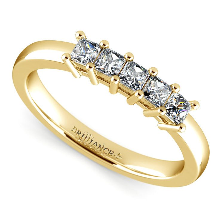 Princess Five Diamond Wedding Ring in Yellow Gold (1/2 ctw) | 01