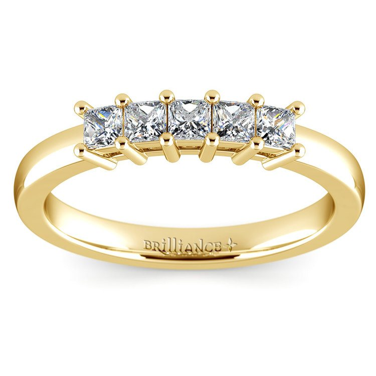 Princess Five Diamond Wedding Ring in Yellow Gold (1/2 ctw) | 02