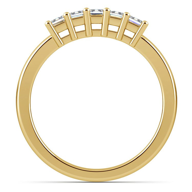Princess Five Diamond Wedding Ring in Yellow Gold (1/2 ctw) | 03