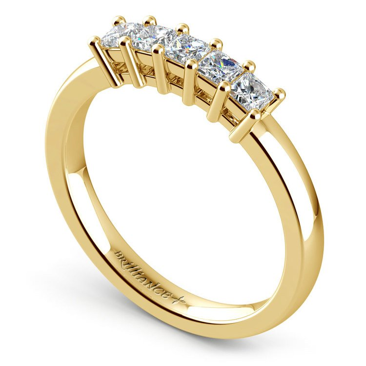 Princess Five Diamond Wedding Ring in Yellow Gold (1/2 ctw) | 04