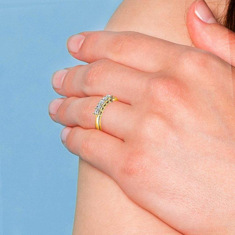 Princess Five Diamond Wedding Ring in Yellow Gold (1/2 ctw) | 07
