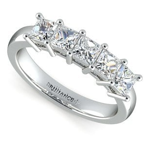 Princess Five Diamond Wedding Ring in Platinum (1 ctw)
