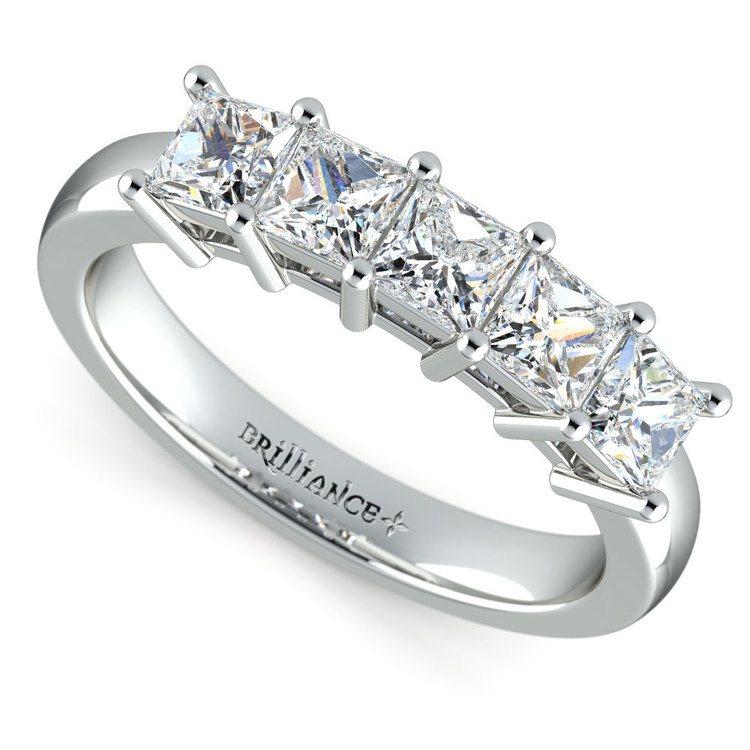 Princess Five Diamond Wedding Ring in Platinum (1 ctw) | 01