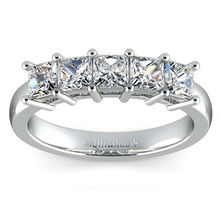 Princess Five Diamond Wedding Ring in Platinum (1 ctw) | 02