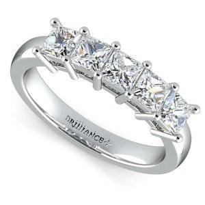 Princess Five Diamond Wedding Ring in White Gold (1 ctw)