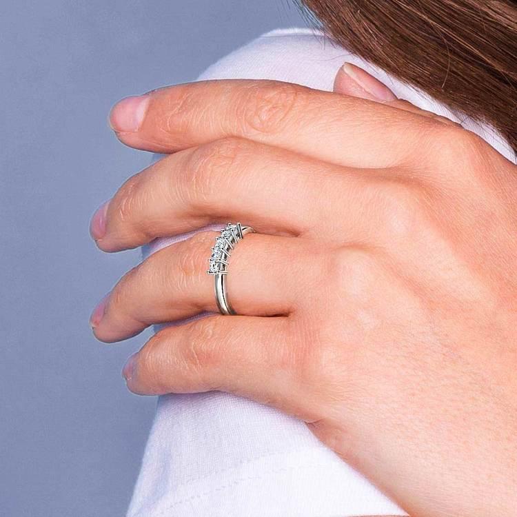Princess Five Diamond Wedding Ring in White Gold (1 ctw) | 07
