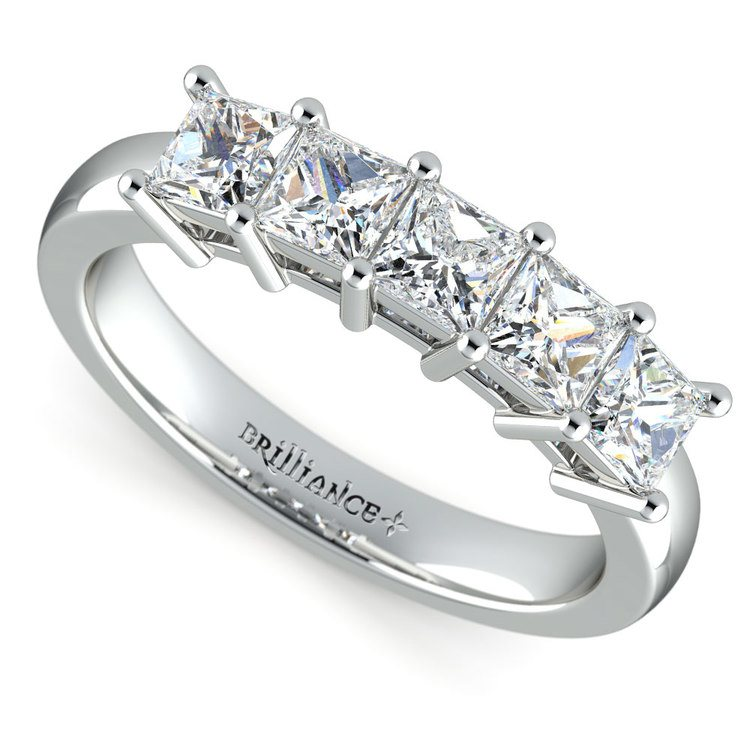 Princess Five Diamond Wedding Ring in White Gold (1 ctw) | 01