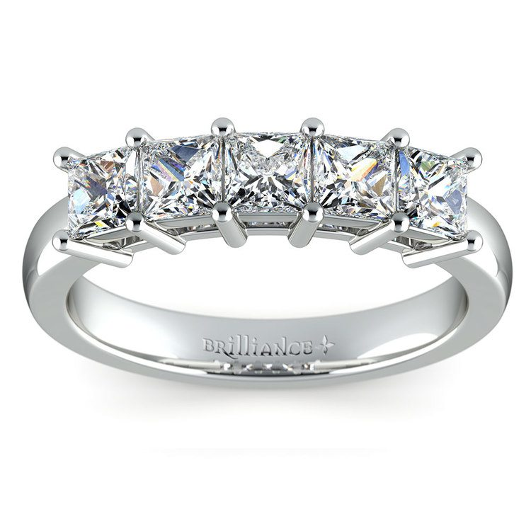 Princess Five Diamond Wedding Ring in White Gold (1 ctw) | 02
