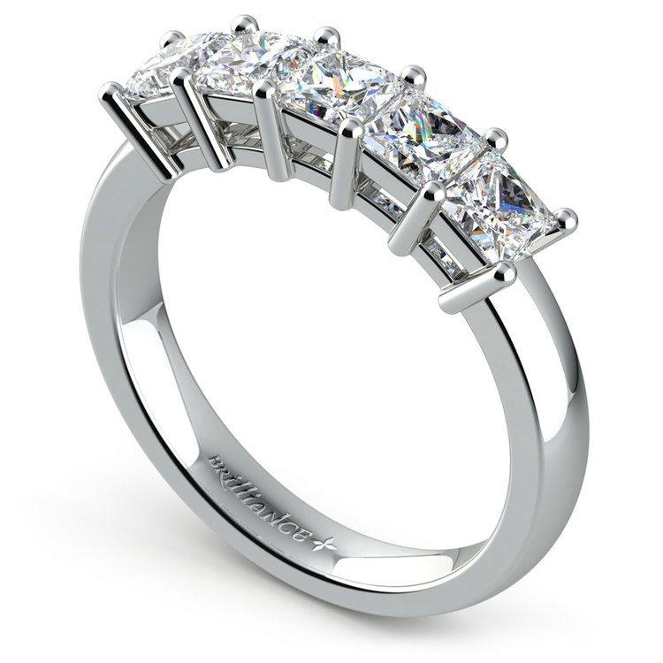 Princess Five Diamond Wedding Ring in White Gold (1 ctw) | 04