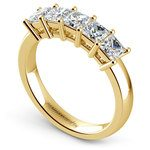 Princess Five Diamond Wedding Ring in Yellow Gold (1 ctw) | Thumbnail 04