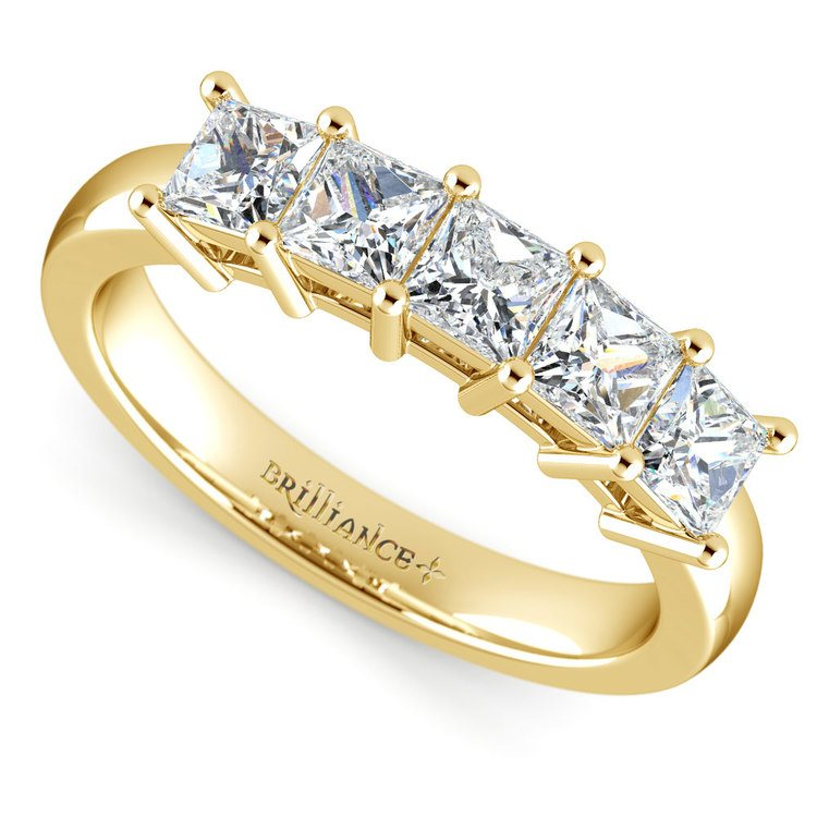 Princess Five Diamond Wedding Ring in Yellow Gold (1 ctw) | 01