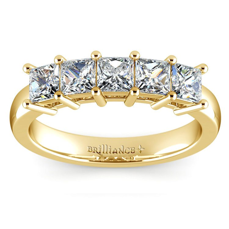 Princess Five Diamond Wedding Ring in Yellow Gold (1 ctw) | 02