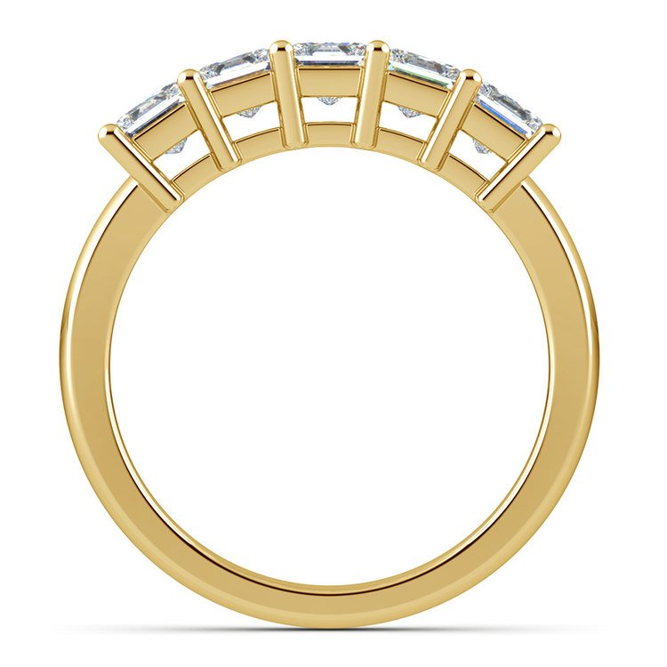 Princess Five Diamond Wedding Ring in Yellow Gold (1 ctw) | 03