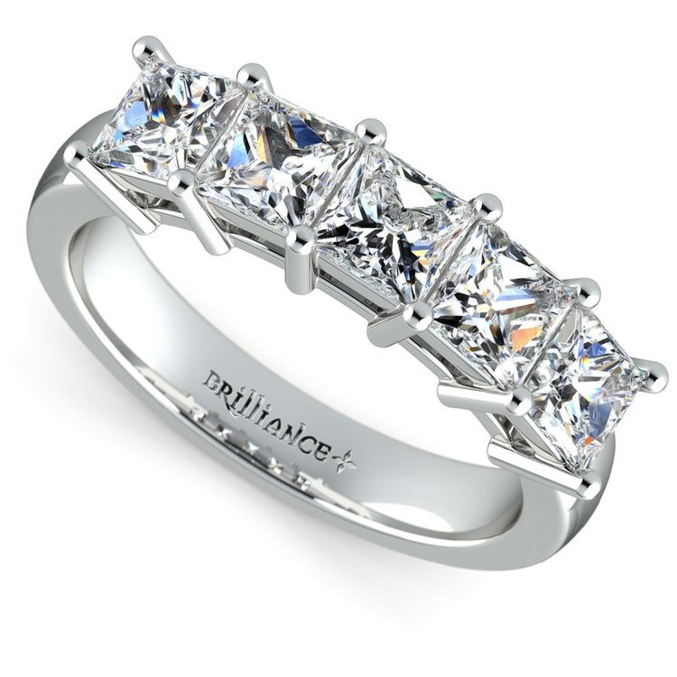 Princess Five Diamond Wedding Ring in Platinum (2 ctw) | 01