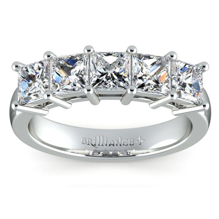 Princess Five Diamond Wedding Ring in Platinum (2 ctw) | 02