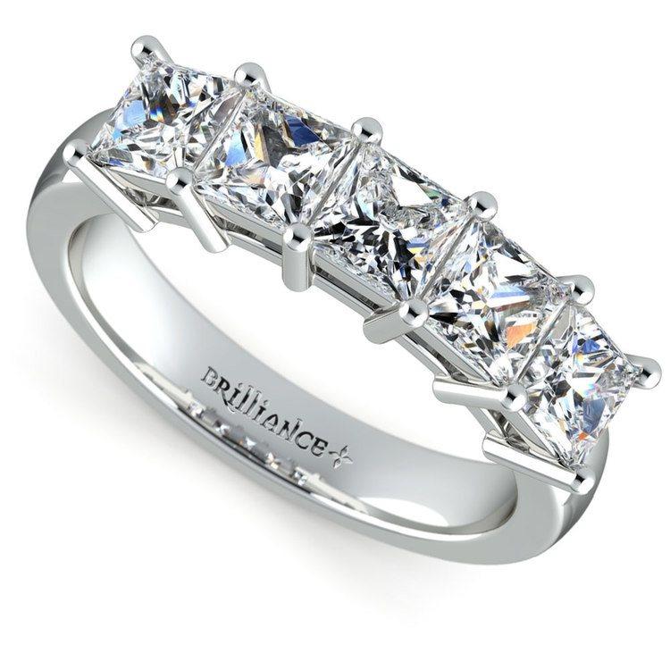 Princess Five Diamond Wedding Ring in White Gold (2 ctw) | 01