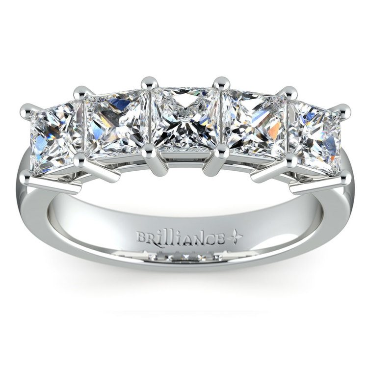 Princess Five Diamond Wedding Ring in White Gold (2 ctw) | 02