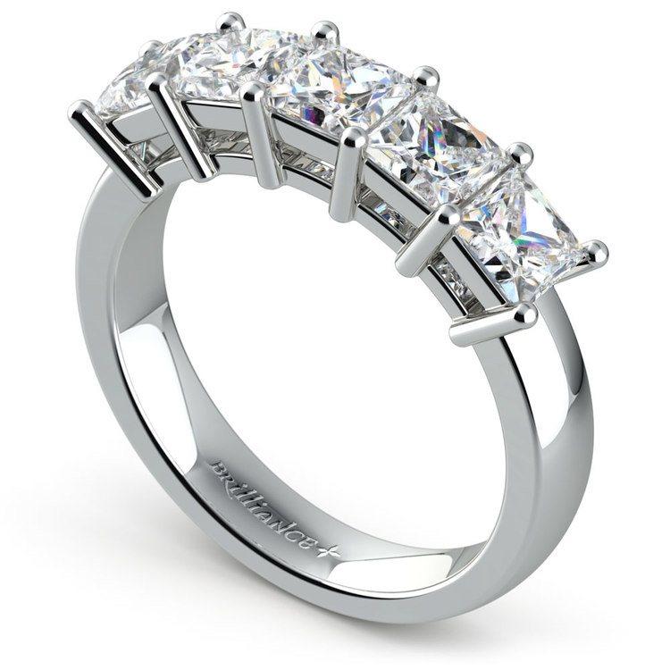 Princess Five Diamond Wedding Ring in White Gold (2 ctw) | 04