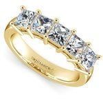 Princess Five Diamond Wedding Ring in Yellow Gold (2 ctw) | Thumbnail 01