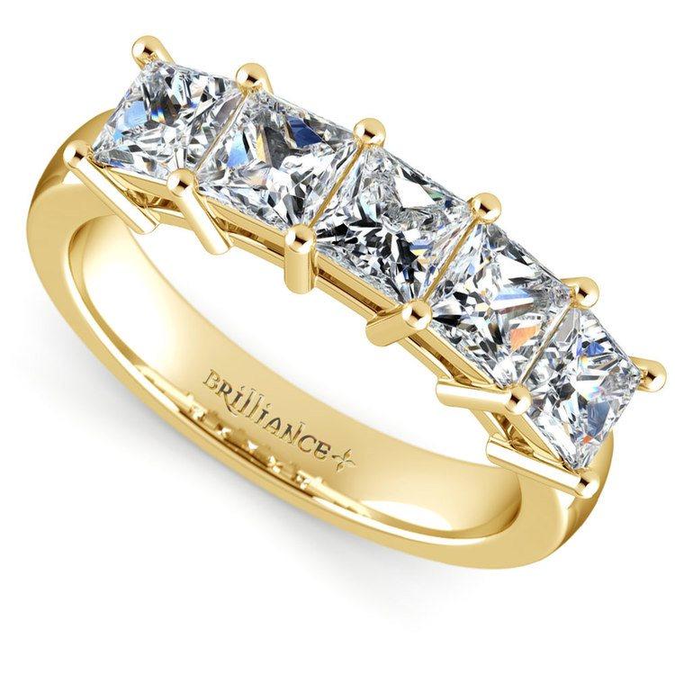 Princess Five Diamond Wedding Ring in Yellow Gold (2 ctw) | 01