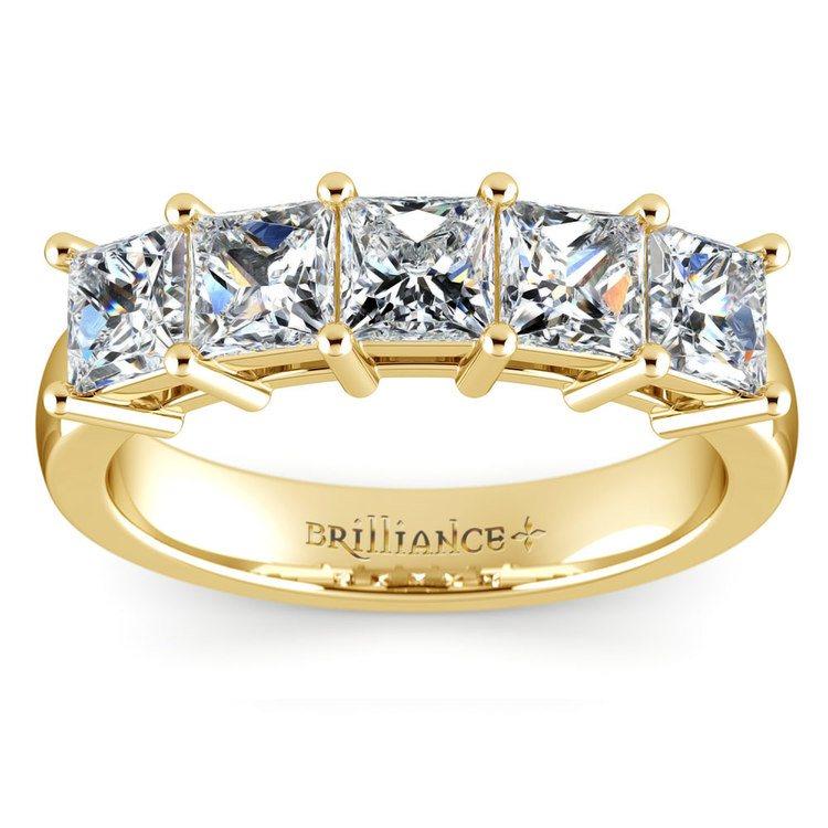 Princess Five Diamond Wedding Ring in Yellow Gold (2 ctw) | 02