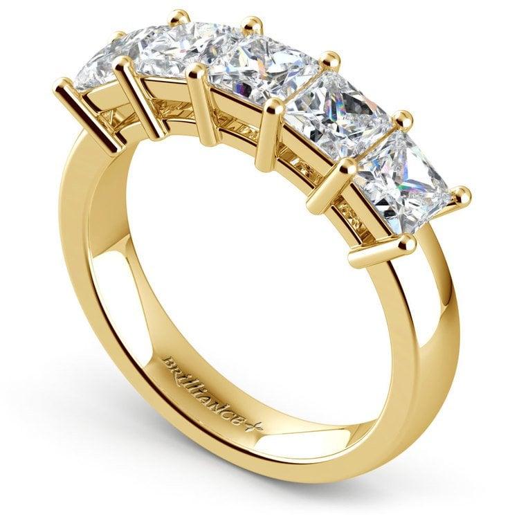Princess Five Diamond Wedding Ring in Yellow Gold (2 ctw) | 04