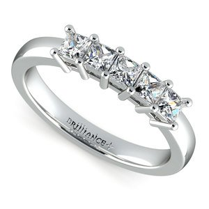Princess Five Diamond Wedding Ring in White Gold (3/4 ctw)