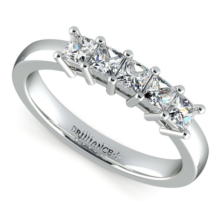 Princess Five Diamond Wedding Ring in White Gold (3/4 ctw) | 01