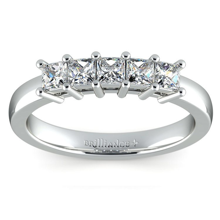 Princess Five Diamond Wedding Ring in White Gold (3/4 ctw) | 02