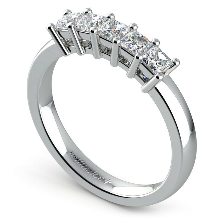 Princess Five Diamond Wedding Ring in White Gold (3/4 ctw) | 04