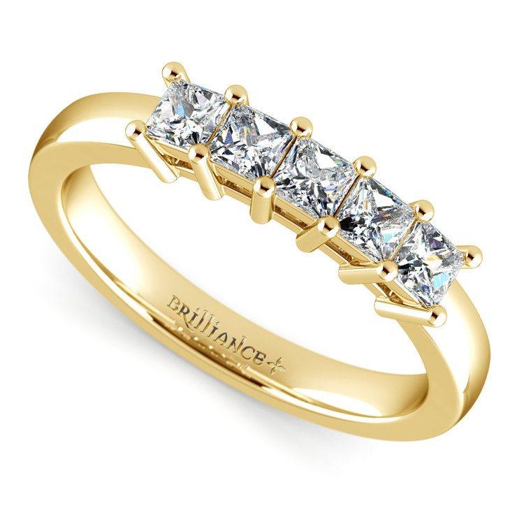 Princess Five Diamond Wedding Ring in Yellow Gold (3/4 ctw) | 01
