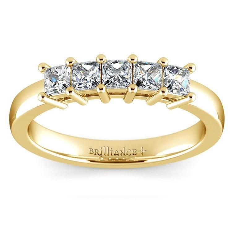 Princess Five Diamond Wedding Ring in Yellow Gold (3/4 ctw) | 02