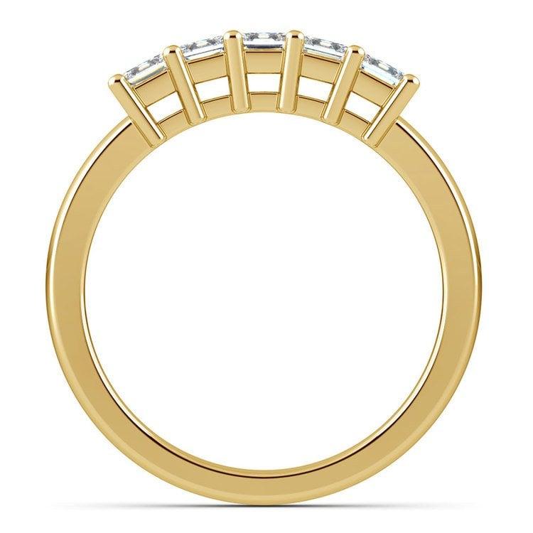 Princess Five Diamond Wedding Ring in Yellow Gold (3/4 ctw) | 03