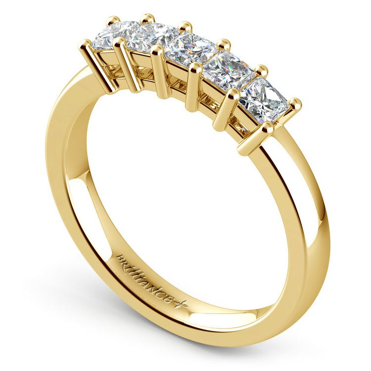 Princess Five Diamond Wedding Ring in Yellow Gold (3/4 ctw) | 04