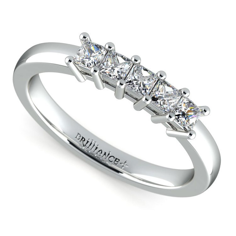 Princess Five Diamond Wedding Ring in White Gold (1/2 ctw) | 01